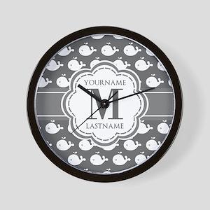 Gray Whale Pattern, Custom Monogram Wall Clock
