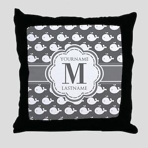 Gray Whale Pattern, Custom Monogram Throw Pillow