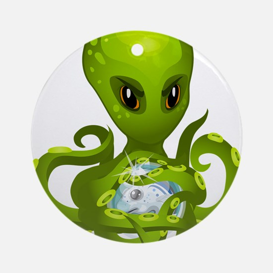 Green Alien Octopus Round Ornament