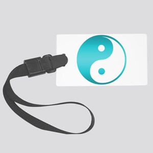 Yin Yang Asian Symbol in Teal Bl Large Luggage Tag