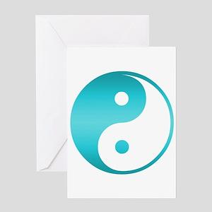 Yin Yang Asian Symbol in Teal Blue Greeting Cards