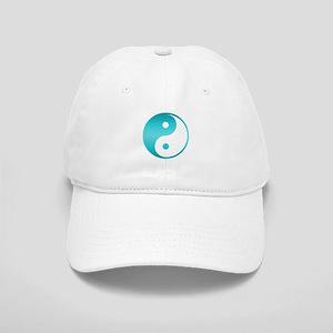 Yin Yang Asian Symbol in Teal Blue Gradient Cap