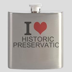 I Love Historic Preservation Flask