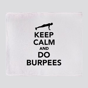 Keep calm and do burpees Throw Blanket