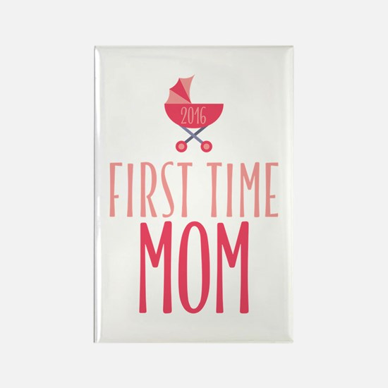 First Time Mom - Pink Rectangle Magnet