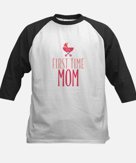 First Time Mom - Pink Kids Baseball Jersey
