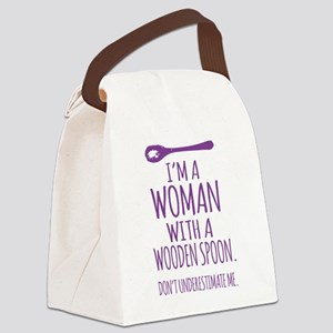 Woman With a Wooden Spoon Canvas Lunch Bag