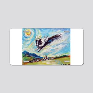 Border collie angel Aluminum License Plate
