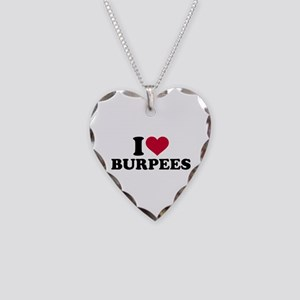 I love Burpees Necklace Heart Charm
