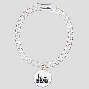Real men do burpees Charm Bracelet, One Charm