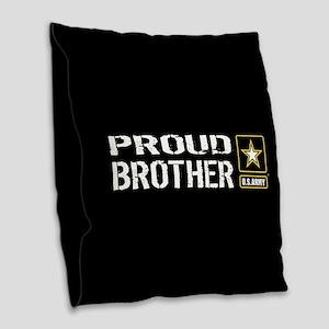 U.S. Army: Proud Brother (Blac Burlap Throw Pillow