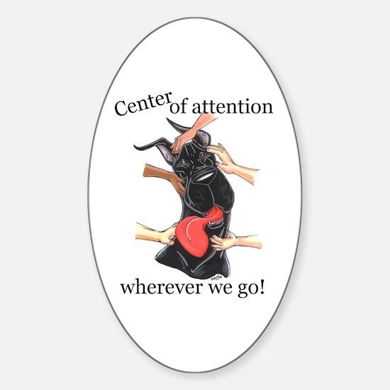 CBlk CenterOfAttention Great Dane Oval Decal
