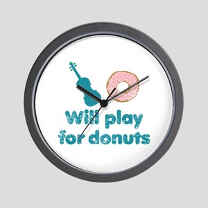 Will Play for Donuts Wall Clock