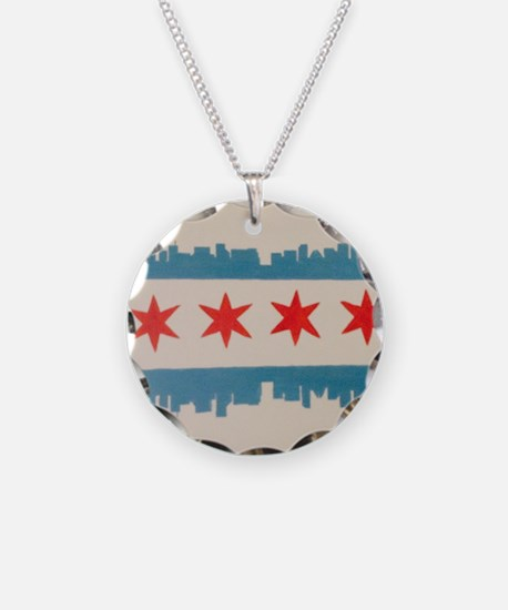 Funny Chicago flag Necklace