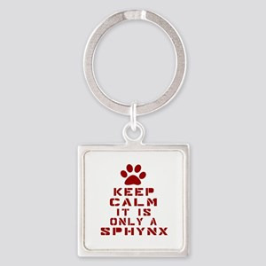 Keep Calm It Is Sphynx Cat Square Keychain