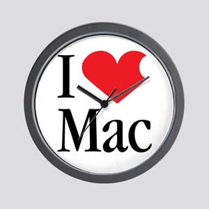 I Love Mac heart products Wall Clock