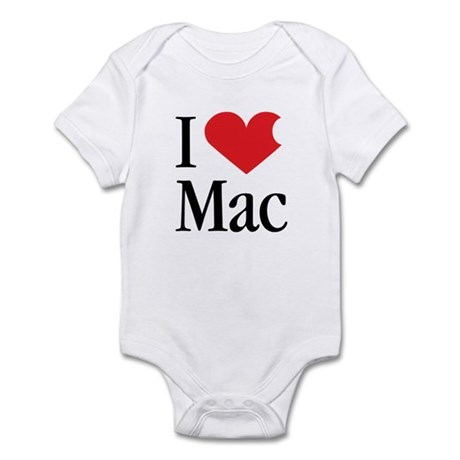 I Love Mac heart products Infant Bodysuit