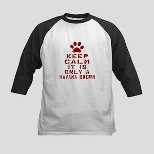 Keep Calm It Is Havana Brown Kids Baseball Jersey