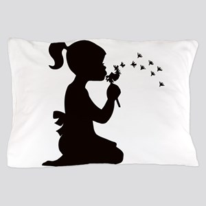 Girl with Flower Pillow Case