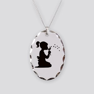 Girl with Flower Necklace Oval Charm
