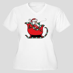 Santa on Sled Women's Plus Size V-Neck T-Shirt