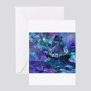 Surreal Pirate Ship Greeting Cards
