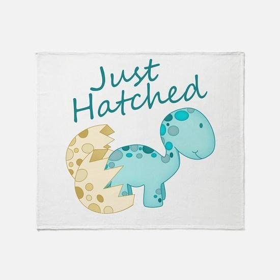 Just Hatched Blue Baby Dinosaur Throw Blanket
