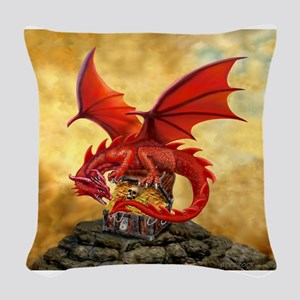 Red Dragon's Treasure Chest Woven Throw Pillow