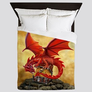 Red Dragon's Treasure Chest Queen Duvet