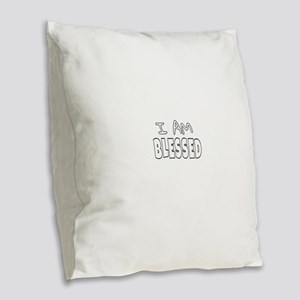 I AM BLESSED Burlap Throw Pillow