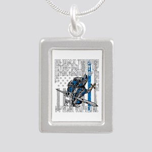 I Fear No Evil Police Cr Silver Portrait Necklace