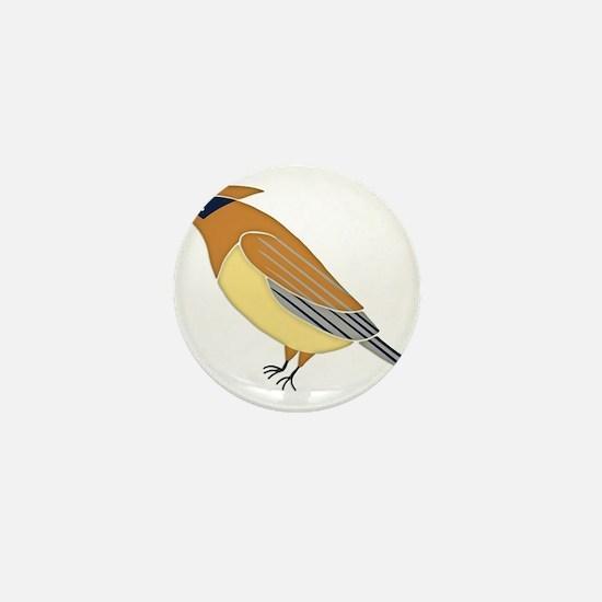 Cedar Waxwing Mini Button