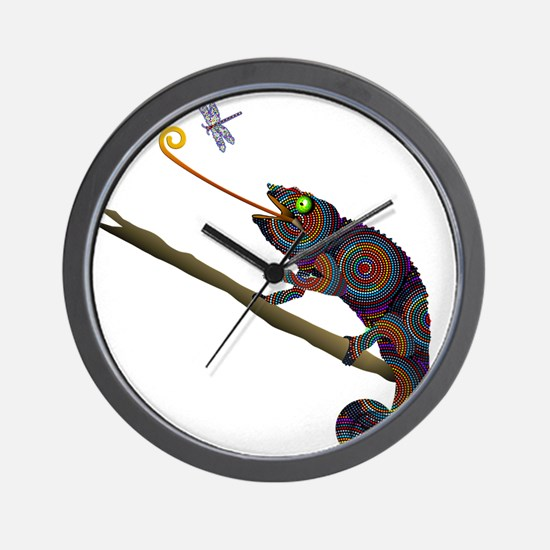 Beaded Chameleon on Branch Wall Clock