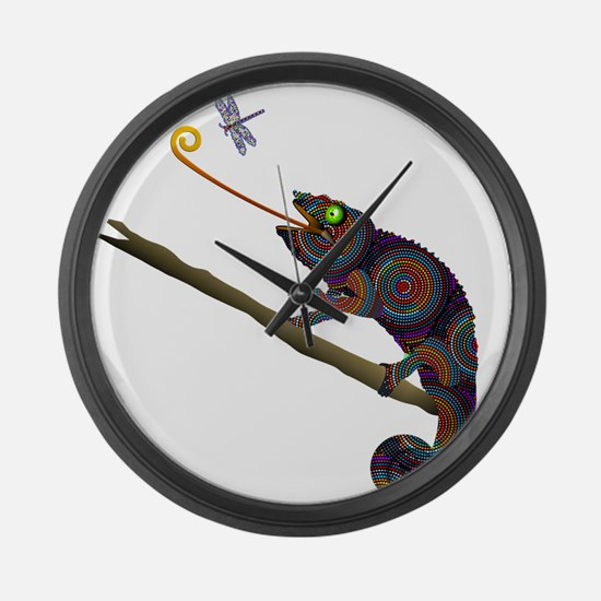 Beaded Chameleon on Branch Large Wall Clock