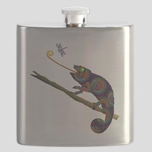 Beaded Chameleon on Branch Flask