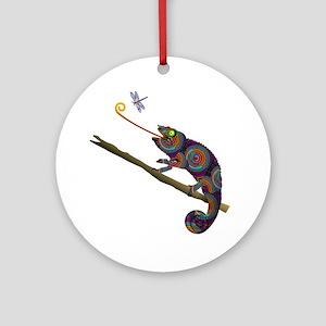 Beaded Chameleon on Branch Round Ornament