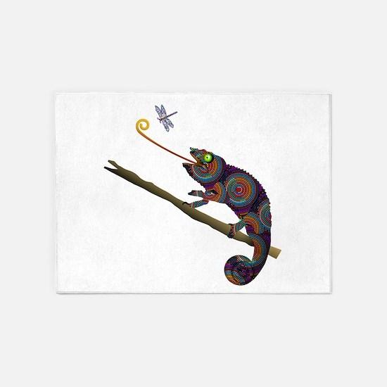 Beaded Chameleon on Branch 5'x7'Area Rug
