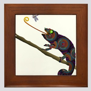 Beaded Chameleon on Branch Framed Tile