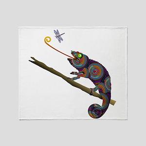 Beaded Chameleon on Branch Throw Blanket
