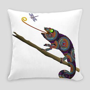 Beaded Chameleon on Branch Everyday Pillow
