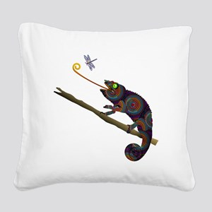 Beaded Chameleon on Branch Square Canvas Pillow