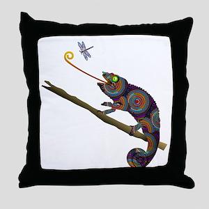 Beaded Chameleon on Branch Throw Pillow