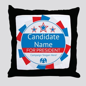 Candidate and Slogan Personalized Throw Pillow