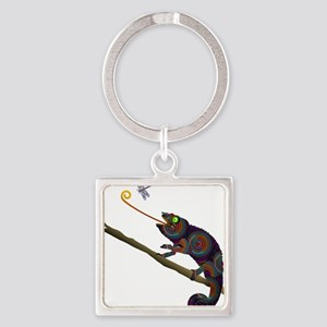 Beaded Chameleon on Branch Keychains