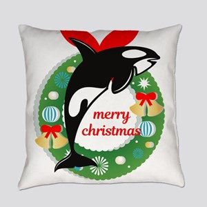 merry christmas Killer Whale Everyday Pillow