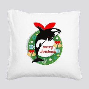merry christmas Killer Whale Square Canvas Pillow