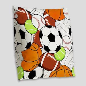 Sports Fan Pattern Burlap Throw Pillow
