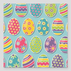 "Easter Eggs Square Car Magnet 3"" x 3"""
