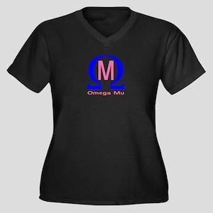 Omega Mu Women's Plus Size V-Neck Dark T-Shirt