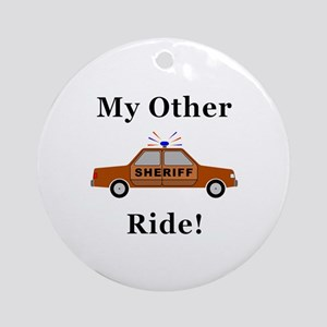 Sheriff My Other Ride Round Ornament